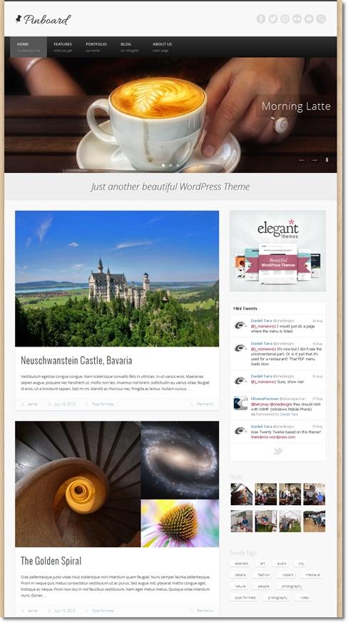 企業ホームページにブログと写真集が付いたテーマ